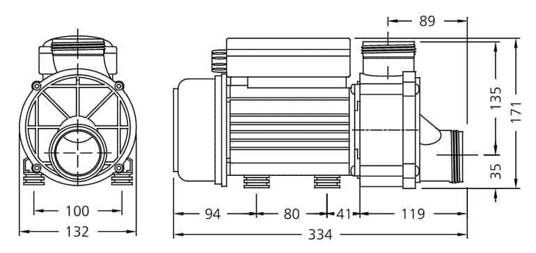 dimensions pompe balnéo