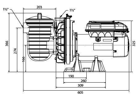 dimensions pompe S5P2R VS STARITE