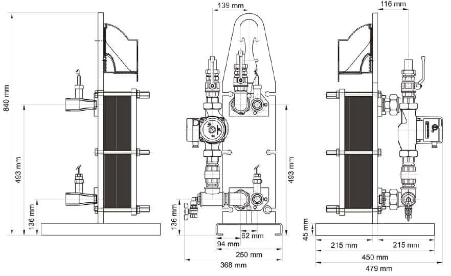 dimensions echangeur uranus 120 240 zodiac