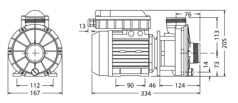 dimensions pompe balnéo ha460