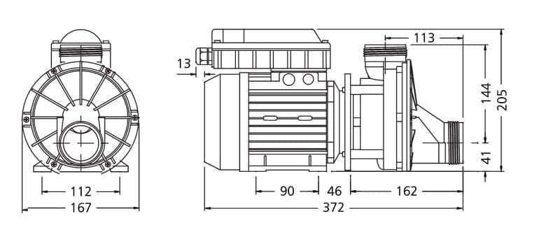 dimensions pompe balnéo ha460 vidange