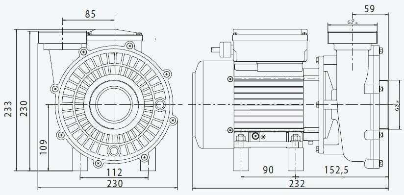 dimensions pompe pht 10